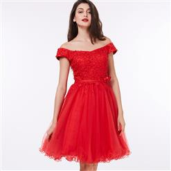 Red Off The Shoulder Dress, Appliques Lace-up Midi Dress, Red Lace-up A-Line Dress, Women's Red Midi Party Dress, Elegant Appliques A-Line Dress, #N15826