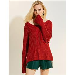 Red Fashion Sweater, Sexy Women's Sweater, Red Sweater for Women, Sexy Sweater for Women, Long Sleeve Sweater, Casual Red Sweater, #N15775