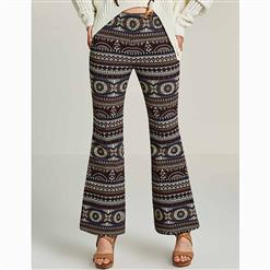 Full Length Bellbottoms, Women's Slim Bellbottoms, Vintage Bellbottoms for Women, Geometric Print Bellbottoms, Retro Casual Bellbottoms, #N15686