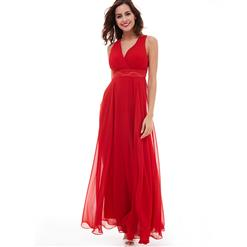 Sleeveless V Neck A-Line Dress, Red Pleated A-Line Dress, Women's Red Chiffon Maxi Evening Gowns, Pleated Beaded Long Dress, Sexy Red Long Prom Dress, #N15937