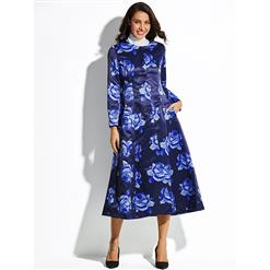 Long Sleeve Overcoat, Single-breasted Women's Coat, Fashion Jacket for Women, Floral Print Jacket, Long Sleeve Overcoat, #N15338