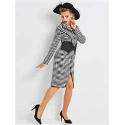 Women's Vintage Long Sleeve Lapel Single-Breasted Houndstooth Bodycon Dress N15428