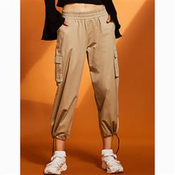 Elastic Waist Pants, Womens Khaki Pants, Solid Color Pants for Women, Wide Legs Pants, Pocket Pants for Women, Adjustable Pants, Plain Sport Pants for Women, #N15674
