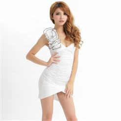 White Sleeveless V Neck Nightgown, Sexy Backless Bodycon Mini Dress, White Sleeveless Backless Mini Dress, Sexy Night Club Dance Dresses, Sexy Bodycon Night Club Mini Dress, V Neck Ruffled Club Mini Dress, #N17683
