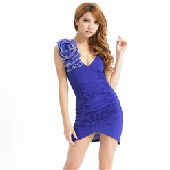 Blue Sleeveless V Neck Nightgown, Sexy Backless Bodycon Mini Dress, Blue Sleeveless Backless Mini Dress, Sexy Night Club Dance Dresses, Sexy Bodycon Night Club Mini Dress, V Neck Ruffled Club Mini Dress, #N17684