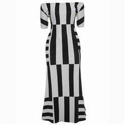 Half Sleeve Dresses for Women, Off Shoulder Dress, Plus Size Dress, Irregular Stripe Dress, Maxi Dress, Bodycon Dress, Slash Neck Dress, Slim Fit Dress, #N15617