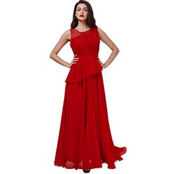 Sleeveless Round Neck Dress, Red Pleated Long Dress, Women's Red Asymmetric Evening Gowns, Red Bridesmaid Dress, Elegant Chiffon Prom Gowns for Women, #N15865