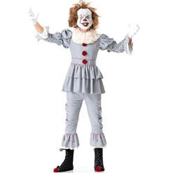 Men's Scary Clown Costume, Scary Clown Cosplay Costume, Gray Scary Clown Costume Men, Scary Clown Role-palying Costume, Halloween Men Clown Costume, #N17741