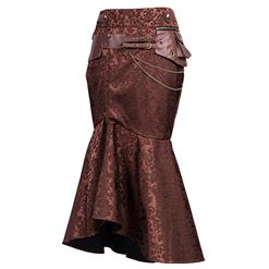 Steampunk Brown Skirt, Jacquard Skirt for Women, Gothic Cosplay Skirt, Halloween Costume Skirt, Plus Size Skirt, Steampunk Party Skirt, Fishtail Skirt, #N15060