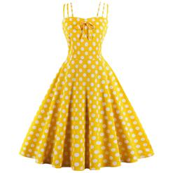 Vintage Dresses for Women, Sexy Dresses for Women Cocktail Party, Casual Vintage Polka Dot Printed Dress, Strappy Swing Daily Dress, Women's Summer Swing Dress Yellow, #N17097