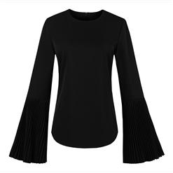 Black Long Sleeve Tops, Plain Round Collar Tops, Black Zipper Tops, Women's Black Long Tops, Flare Sleeve Round Collar Tops, Black Plus Size Zipper Tops, #N15794