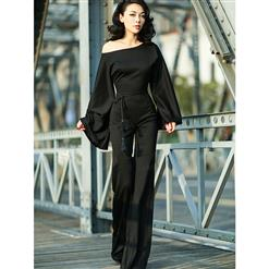 Wide Leg?Jumpsuit, Jumpsuits for Women, Oblique Neckline Jumpsuit, Slim Plain Jumpsuit, Sleeveless Jumpsuit, Fashion Jumpsuit, #N15053