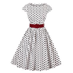 Cap Sleeve Dress, Round Collar Dress, Dot Print Dress, Vintage Dress for Women, Back Zipper Dress, Midi Vintage Dress, Slim Waist Dress, #N15424