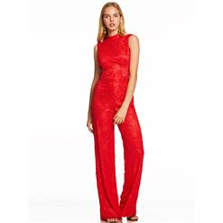 Lace Jumpsuit for Women, Sleeveless Jumpsuit, High Neck Red Jumpsuit, Red Jumpsuit for Women, Sexy Backless Jumpsuit, Red Floral Lace Jumpsuit, #N15612