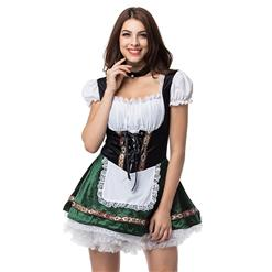Oktoberfest Cheer Costume, Women's Beer Girl Costume, Bavarian Beer Girl Costume, French Maid Waitress Clubwear, Oktoberfest Wench Adult Dirndl Dress, Oktoberfest Women Costume, #N15694