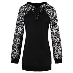 Black Long Sleeve Tops, Lace Patchwork Tops, Black Lace-up Pullover Tops, Women's Black Long Pullover Tops, Lace-up Pocket Tops, Patchwork Pocket Tops, Black Plus Size Tops, #N15795