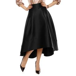 Sexy Skirt for Women, Sexy Black Skirt, Mid-calf Skirt, Black Sexy Skirts, Black Skater Skirt, Women's Skater Skirts, High-Waist Skirts, High-low Swing Skirts, #N15609