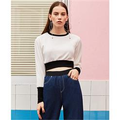 Long Sleeve Tops, Round Collar Tops, Bare Midriff Tops, Pullover Tops, Plain Tops for Women, Elastic Tops, Sexy Tops for Women, #N15464