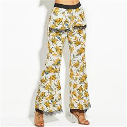 Full Length Bellbottoms, Casual Bellbottoms for Women, Floral Print Bellbottoms, Fashion Bellbottoms for Women, Slim Bellbottoms, Lace Bellbottoms, #N15554