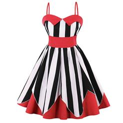 Vintage Dresses for Women, Sexy Dresses for Women Cocktail Party, Casual Mini dress, Stripe Print Swing Daily Dress, Shoulder Straps Mini Dresses, Patchwork Vintage Dresses, #N15583