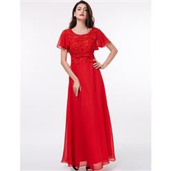 Short Sleeve Round Neck Dress, Appliques Sequins Maxi Dress, Red Backless A-Line Dress, Women's Red Maxi Evening Gowns, Elegant Appliques Chiffon Dress, #N15861