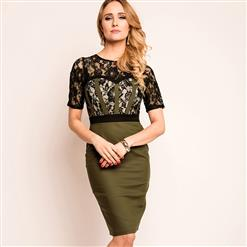 Women's Fashion Round Neck Floral Lace Short Sleeve Patchwork Bodycon Dress N14571