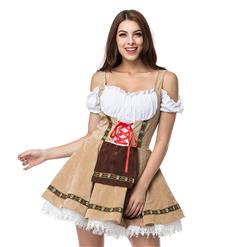 Christmas Cheer Costume, Women's Beer Girl Costume, Bavarian Beer Girl Costume, French Maid Waitress Clubwear, Oktoberfest Wench Adult Dirndl Dress, #N14570