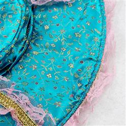 4 Piece Sexy Blue-pink Inwrought Lace V-neck Pirate Adult Roel Play Costume with Hat P1521