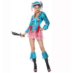 Piratess Costume, Sexy Pirate Captain Costume, Passion Pirate Costume, Blue Sequins Color Pirate Costume,Adult Pantomine Pirate Costume #P1521