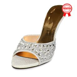 Satin High-heeled Mules, Rhinestone High-heeled Mules, Silver Stiletto Heel Mules, #SWH11081