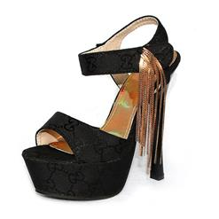 Tassels Satin Platform Sandals,Tassels Platform Sandals, Black Satin Sandals, #SWS20069
