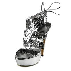 Silver Women Sandals, Hollowed Out Peep-toe Sandals, Silver Thin Heels, #SWS20151