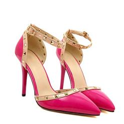 Noble Elegant Hot-Pink Rivets Ankle Wrap Pointed Toe High Heels SWS20330
