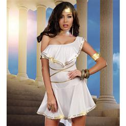 Goddess Shes Hot Costume, White Goddess Costume, White and Gold Goddess Costume, #W5841