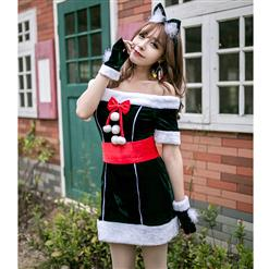Sexy Christmas Costume, Green Velet Christmas Costume, Christmas Costume for Women, Cute Christmas Skirt, Miss Santa's Christmas Costume, Sexy Wild Cat Cosplay Set, #XT18562