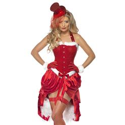 Red Santa Baby Corset O-hemline Neck-up Costume Matching with  Hat and GlovesXT6351