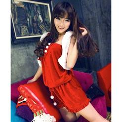 Sexy Red Sleeveless Christmas Costume, One-piece Christmas Costume, Fashionable Velvet Christmas Dress, Cheap High Quality Christmas Dress, #XT9718