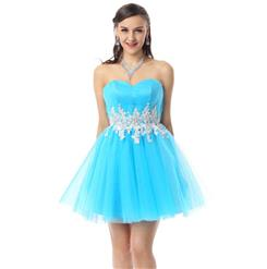 Pretty Blue Dress, Cheap Prom Dresses, Homecoming Dresses under 300 on sale, A-line Sweet 16 Dresses, Hot Selling Sweetheart Dresses, #Y30060