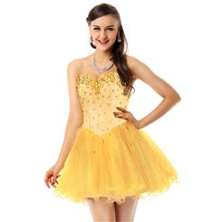 Hot Selling Light-Yellow Homecoming Dresses, Prom Dress for cheap, Buy Discount Sweet 16 Dresses, Girls Party Dresses, #Y30078
