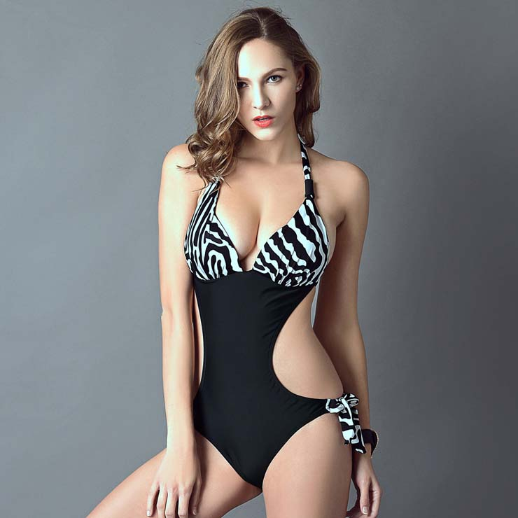 Sexy Zebra Print Halter Neck Side Cutout One-piece Swimsuit BK10311