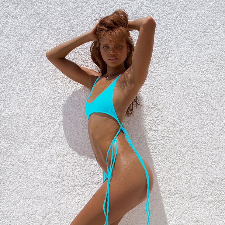 Super Hot Blue High Waist Criss-cross Straps Bikini Set BK15949