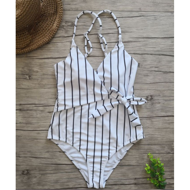 Sexy Stripes Adjustable Straps V Neck Low Cut Backless One-piece Swimsuit BK17960