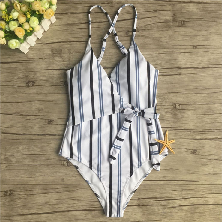 Sexy Stripes Adjustable Straps V Neck Low Cut Backless One-piece Swimsuit BK17961