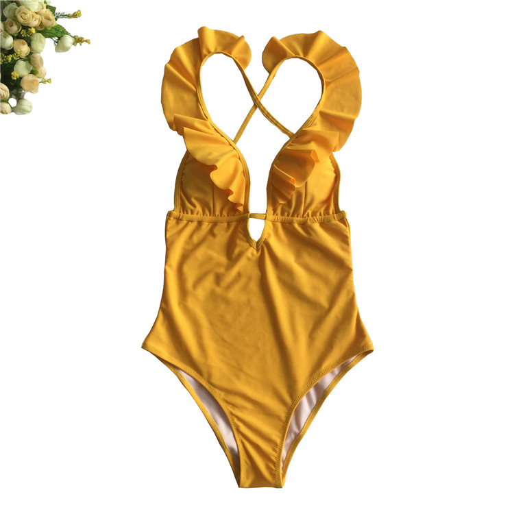 Fashion Women Ruffle Tied Neck Backless One Piece Swimsuit BK17981