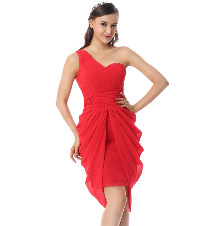 2017 Fashion Red Ruffles One-shoulder Empire Waist Chiffon Knee-Length Cocktail Dresses F30072