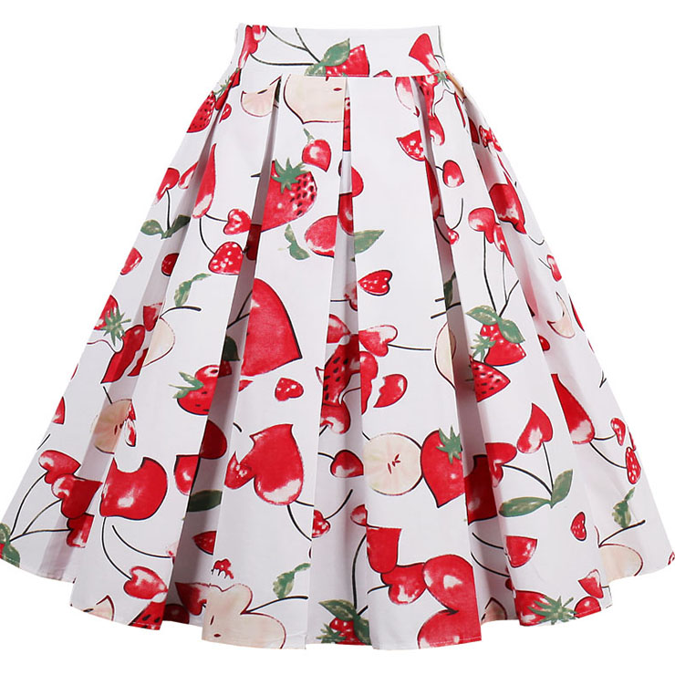 Vintage Apple and Strawberry Print High Waisted Flared Pleated Skirt HG14023