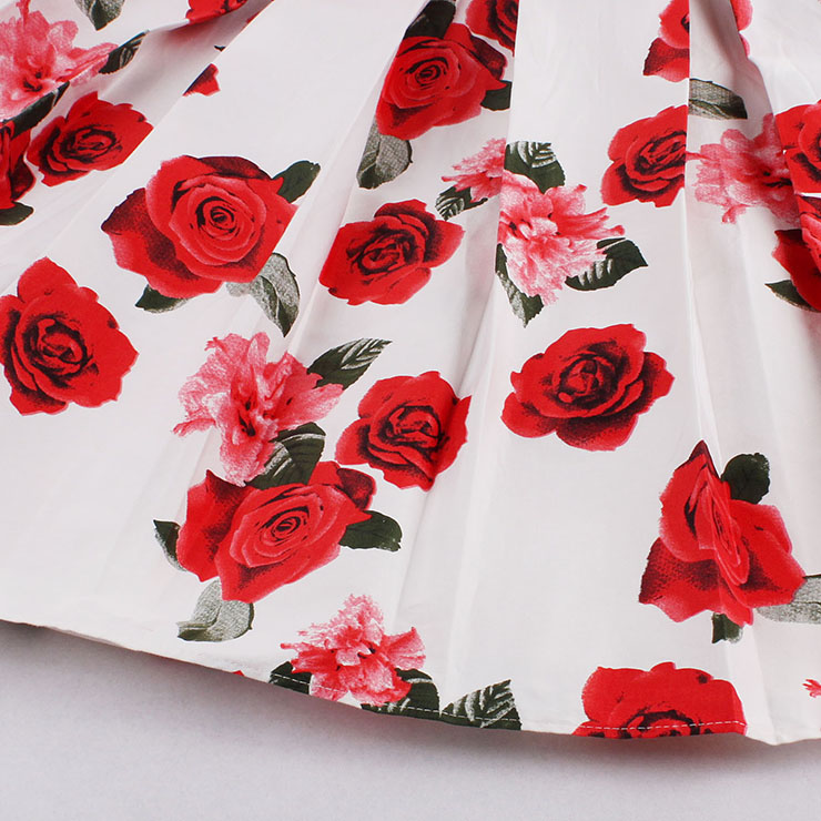 Vintage Red Rose Print High Waisted Flared Pleated Skirt HG14024