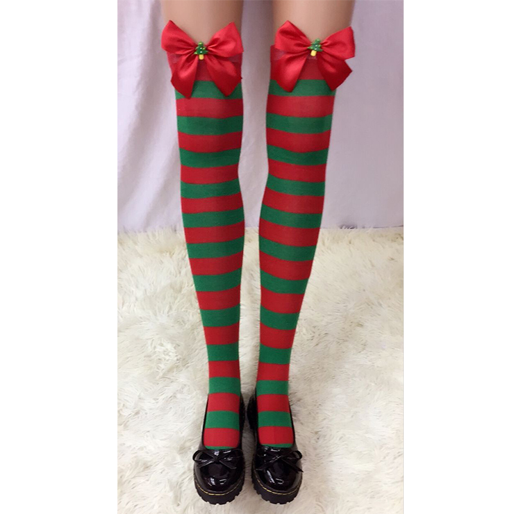 Christmas Red and Green Stripes Stockings with Red Bowknot and Christmas Tree Cosplay Stockings HG18554