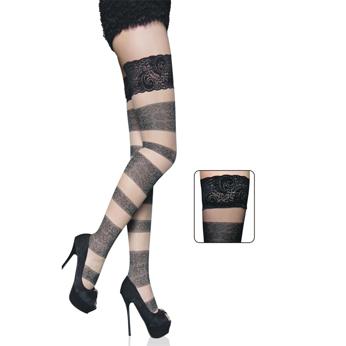 Floral Bandage Thigh High Stockings HG8296