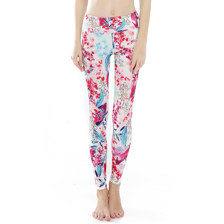 Women's Popular High Waist Floral Print Stretchy Sports Leggings Yoga Fitness Pants L16264